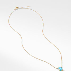 Châtelaine Pendant Necklace with Turquoise and Diamonds in 18K Gold alternative image