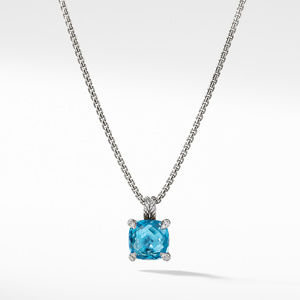 Chatelaine® Pendant Necklace with Blue Topaz and Diamonds, 11mm