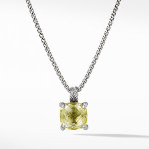 Pendant Necklace with Lemon Citrine and Diamonds