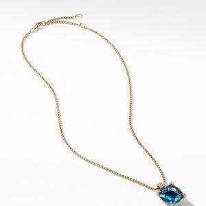 Pendant Necklace with Hampton Blue Topaz and Diamonds in 18K Gold alternative image