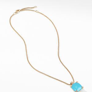 Pendant Necklace with Turquoise and Diamonds in 18K Gold alternative image