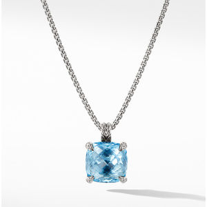 Chatelaine® Pendant Necklace with Blue Topaz and Diamonds, 14mm