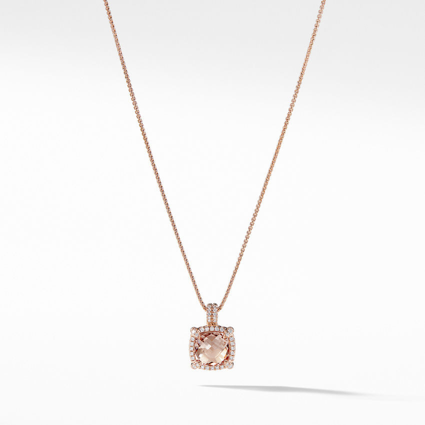 Chatelaine Pavé Bezel Pendant Necklace in 18K Rose Gold with Morganite
