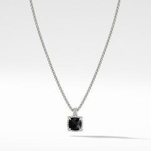 Chatelaine Pave Bezel Pendant Necklace with Black Onyx and Diamonds, 9mm