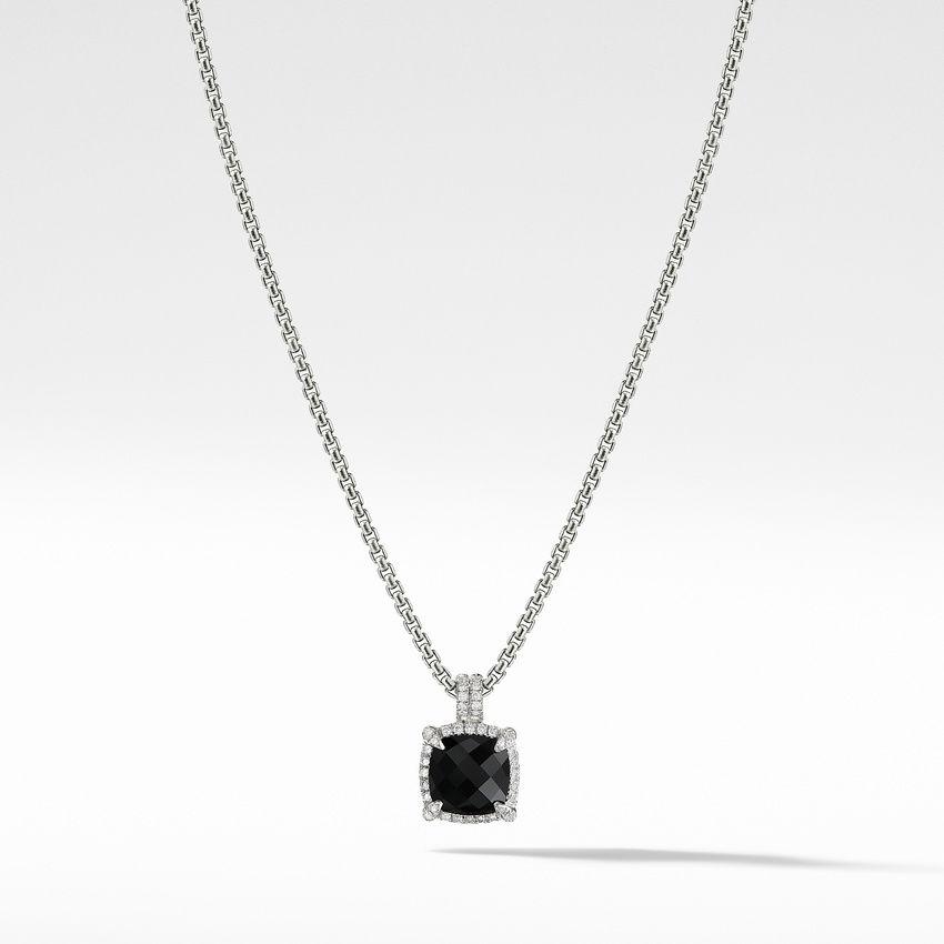 Châtelaine Pave Bezel Pendant Necklace with Black Onyx and Diamonds mm