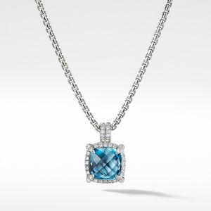 Chatelaine Pave Bezel Pendant Necklace with Hampton Blue Topaz and Diamonds, 9mm