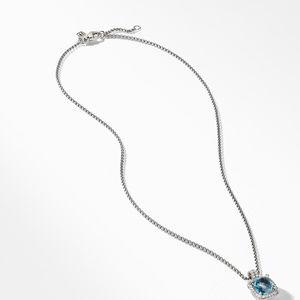Chatelaine Pave Bezel Pendant Necklace with Hampton Blue Topaz and Diamonds, 9mm alternative image
