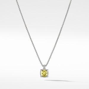 Chatelaine Pave Bezel Pendant Necklace with Lemon Citrine and Diamonds, 9mm