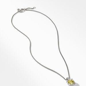 Chatelaine Pave Bezel Pendant Necklace with Lemon Citrine and Diamonds, 9mm alternative image