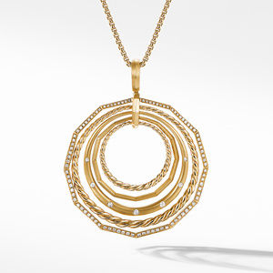 Stax Pendant Necklace with Diamonds in 18K Gold, 41mm