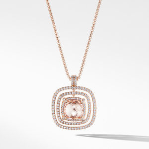 Chatelaine Pavé Bezel Necklace in 18K Rose Gold with Morganite
