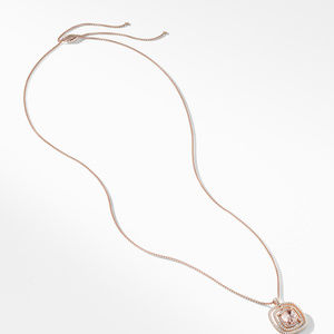 Chatelaine Pavé Bezel Necklace in 18K Rose Gold with Morganite alternative image