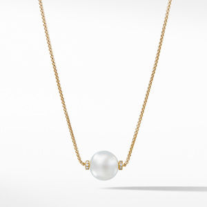 Solari Single Station Necklace in 18k Gold with Diamonds and South Sea White Pearl