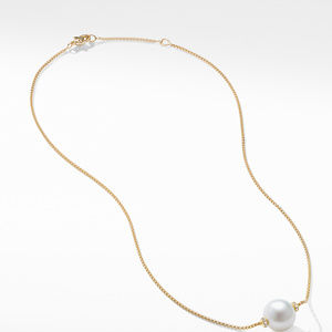 Solari Single Station Necklace in 18k Gold with Diamonds and South Sea White Pearl alternative image