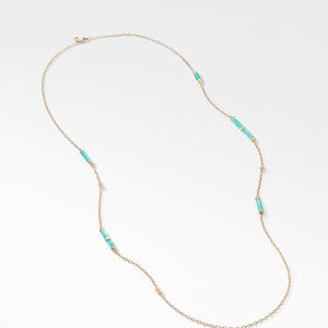 Barrels Long Station Necklace with Amazonite and Diamonds in 18K Gold alternative image