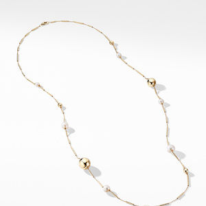 Solari Long Station Necklace with Pearls in 18K Gold alternative image