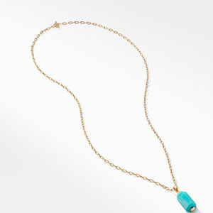 Barrels Pendant Necklace with Diamonds and Amazonite in 18K Gold alternative image