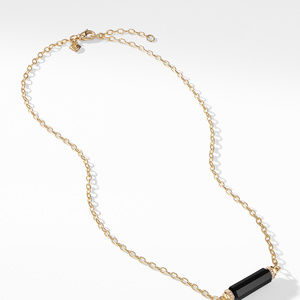 Barrels Single Station Necklace with Black Onyx and Diamonds in 18K Gold alternative image