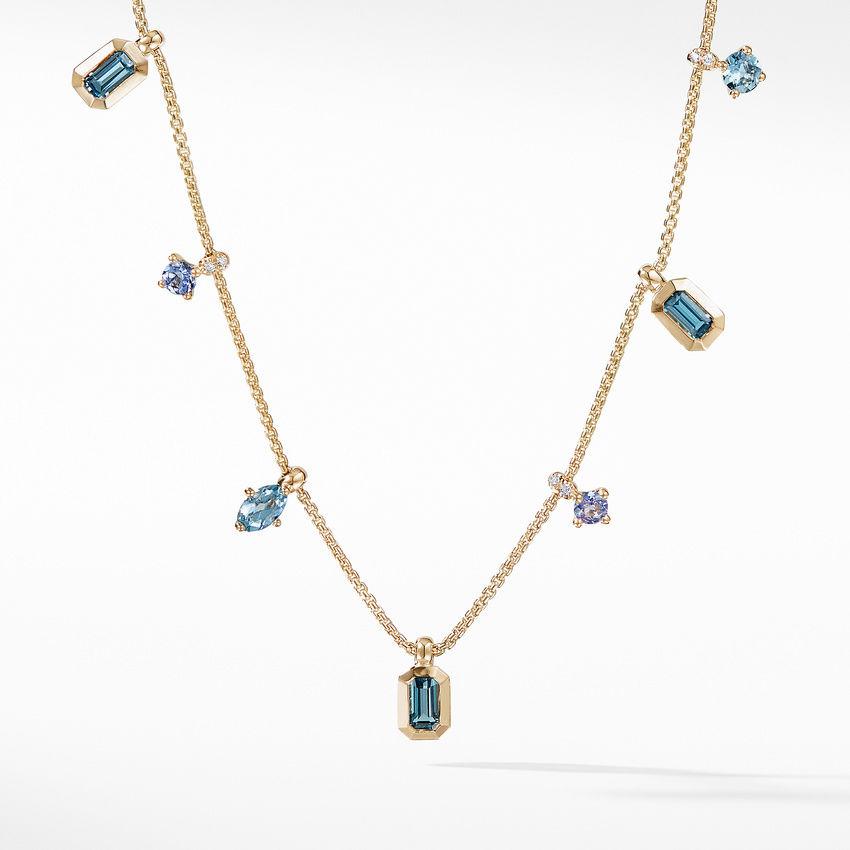Novella Necklace in Hampton Blue Topaz and Aquamarine with Diamonds