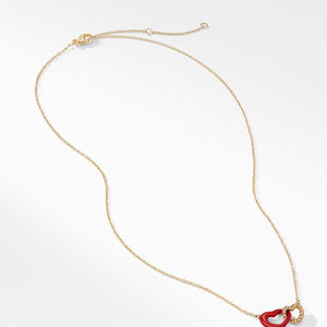 Double Heart Pendant Necklace with Red Enamel and 18K Gold alternative image