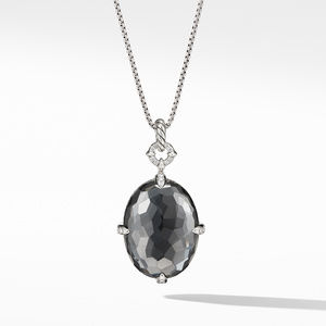 Chatelaine® Statement Pendant Necklace in Grey Orchid with Diamonds