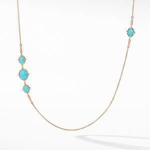 Chatelaine® Long Necklace in 18K Gold with Turquoise