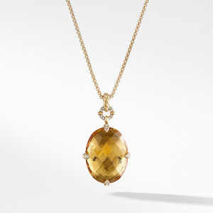 Chatelaine® Pendant Necklace in 18K Gold with Honey Quartz and Diamonds