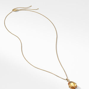 Chatelaine® Pendant Necklace in 18K Gold with Honey Quartz and Diamonds alternative image