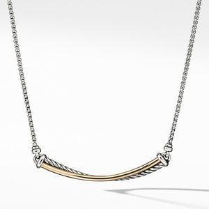 Crossover Bar Necklace with 18K Gold
