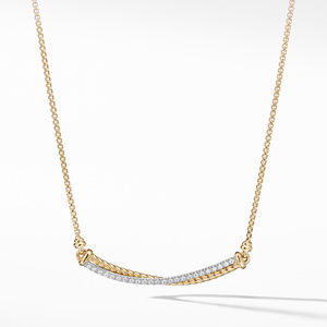 Crossover Bar Necklace in 18K Gold with Diamonds