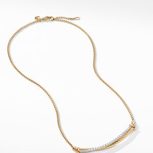 Crossover Bar Necklace in 18K Gold with Diamonds alternative image