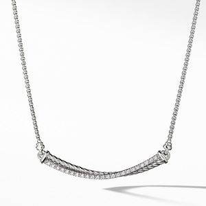 Crossover Bar Necklace with Diamonds