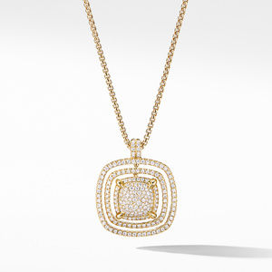 Chatelaine® Full Pavé Pendant Necklace in 18K Yellow Gold