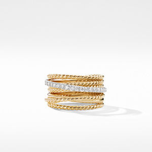 The Crossover Collection® Wide Ring with Diamonds in 18K Gold alternative image