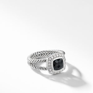 Petite Albion Ring with Black Onyx and Diamonds
