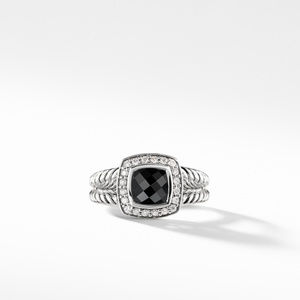 Petite Albion Ring with Black Onyx and Diamonds alternative image