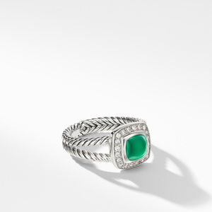 Petite Albion® Ring with Green Onyx and Diamonds