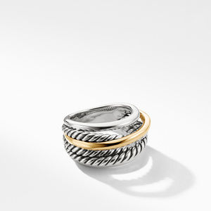 Crossover Narrow Ring with Gold