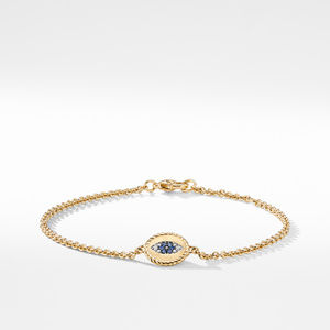 Pave Cable Evil Eye Charm with Blue Sapphire, Diamonds and Black Diamonds in Gold
