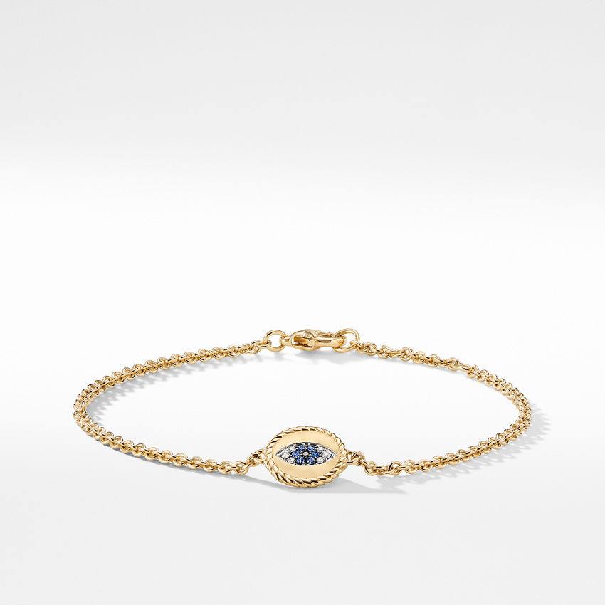 Cable Collectibles Evil Eye Charm with Blue Sapphire Diamonds and Black Diamonds in 18K Gold