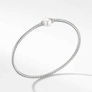 Petite Solari Station Bracelet with Cultured Pearl and Diamonds in 18K White Gold