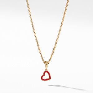 Cable Heart Pendant in 18K Yellow Gold with Red Enamel
