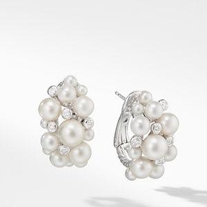 Large Pearl Cluster Hoop Earrings with Diamonds