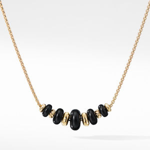 Rio Rondelle Short Station Necklace with Black Agate in 18K Gold