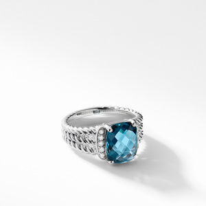Petite Wheaton® Ring with Hampton Blue Topaz and Diamonds