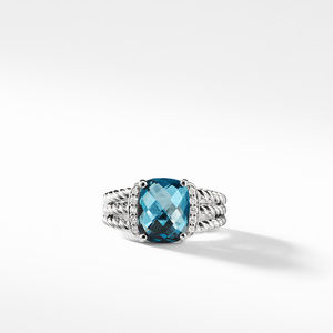 Petite Wheaton Ring with Hampton Blue Topaz and Diamonds alternative image