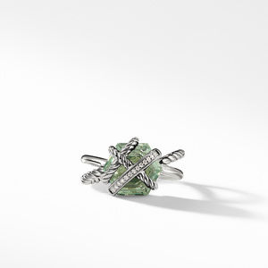 Cable Wrap Ring with Prasiolite and Diamonds alternative image