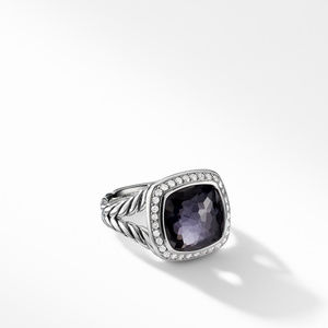 Ring with Black Orchid and Diamonds