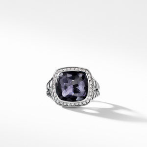 Ring with Black Orchid and Diamonds alternative image