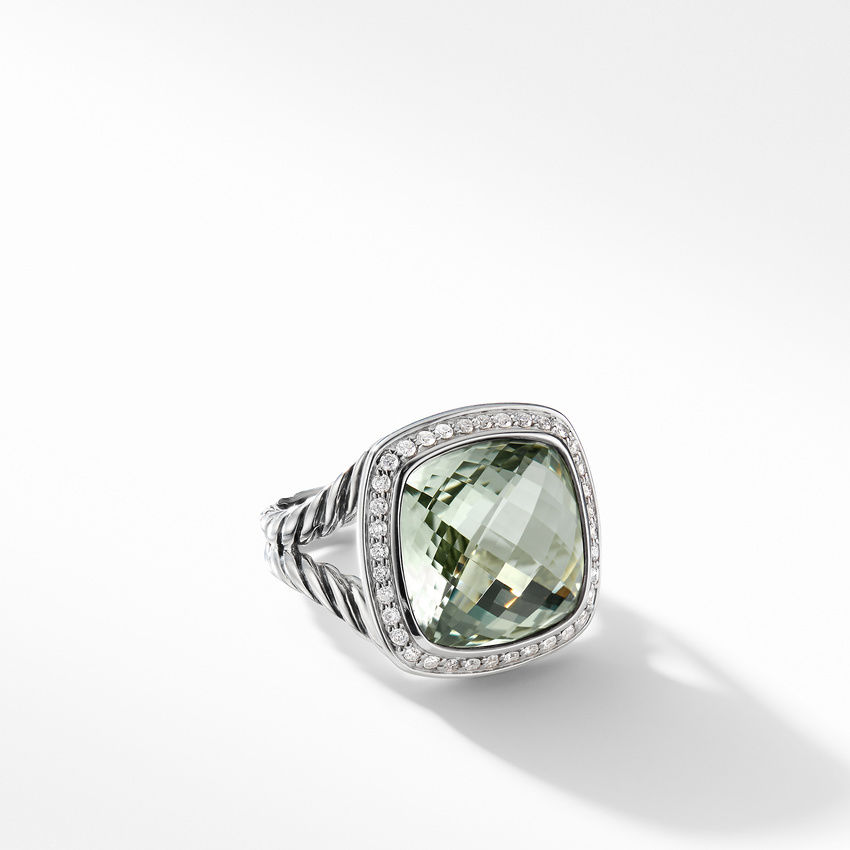 Ring with Prasiolite and Diamonds